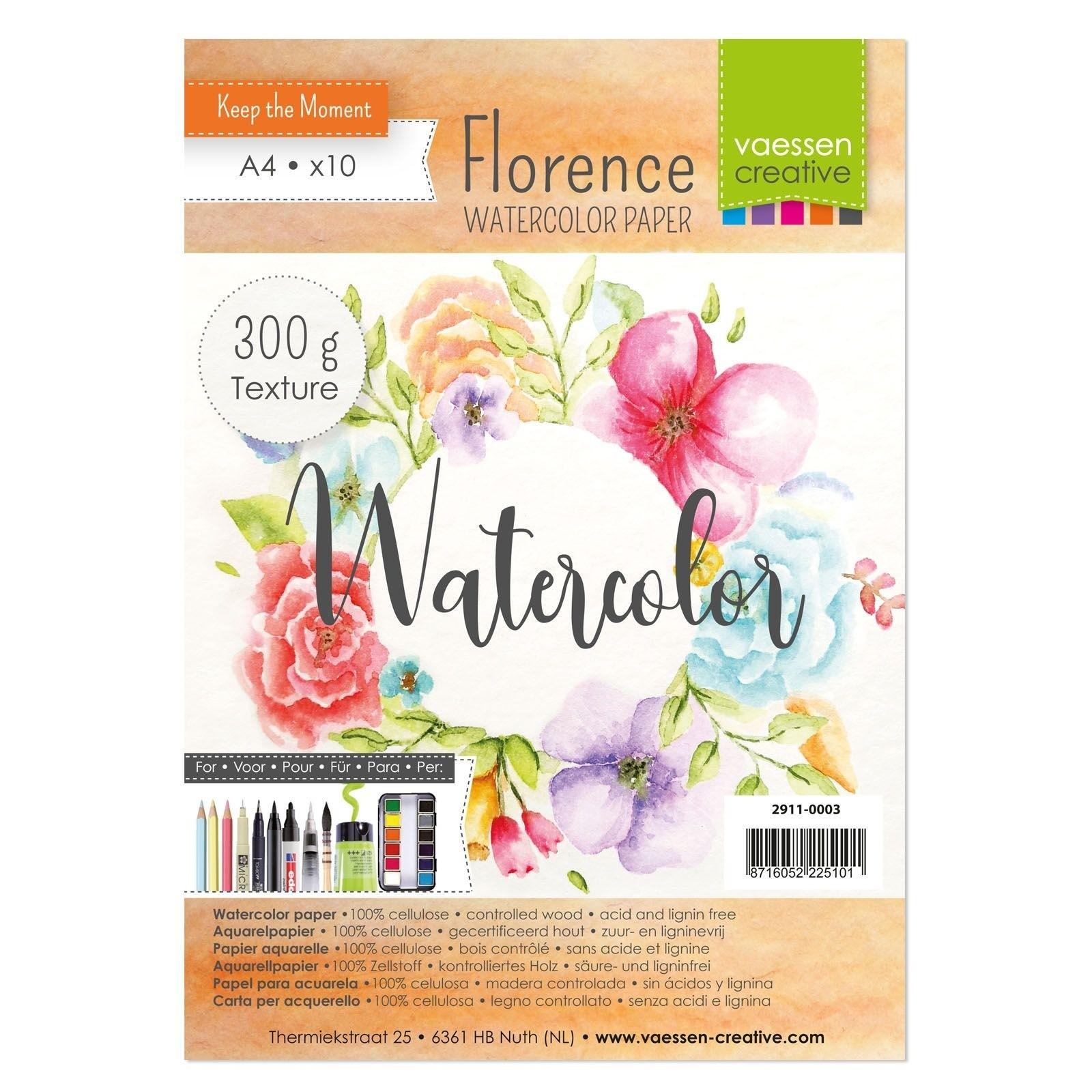 Vaessen Creative - Florence - Watercolor Paper - 300gr Textured - A4 - (10pcs)