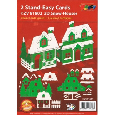 2 Stand-Easy Cards 3 D Snow-Houses Doodey