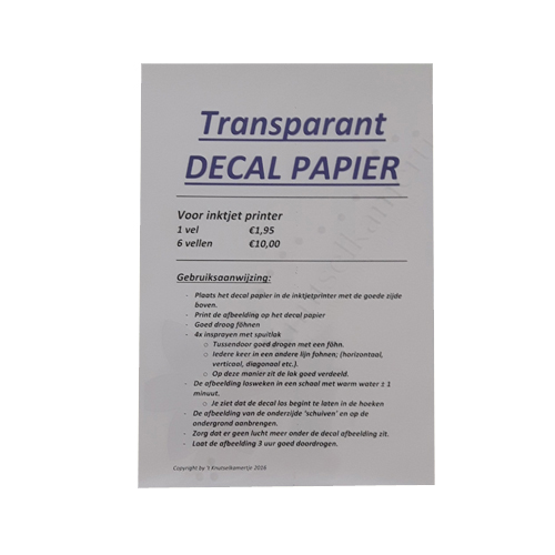Decal papier transparent