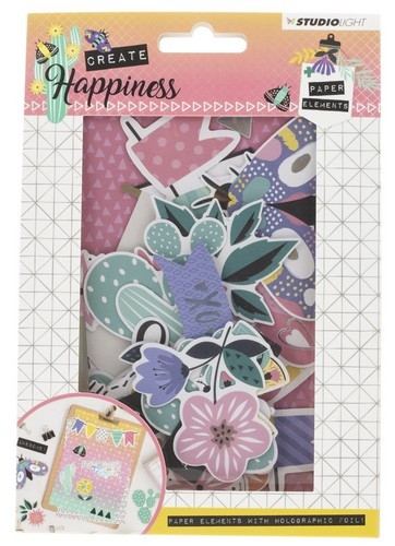 Studio Light - Create Happiness - Die Cut Paper Set - nr. 648 - 44 pcs